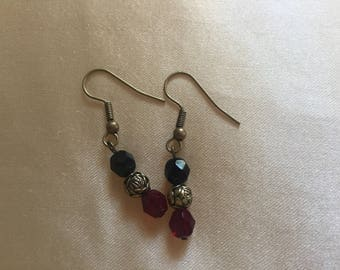 Red, black and gold drop earring