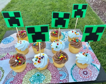 12 Creepers Cupcake Toppers | Minecraft Birthday Party | Minecraft Decor | Minecraft Cake Topper | Minecraft Party Supplies | Creeper Topper