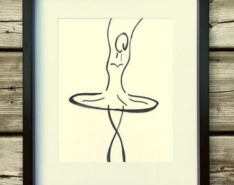 Drawing free ballerina, black frame, decor, marker drawing, original poster art