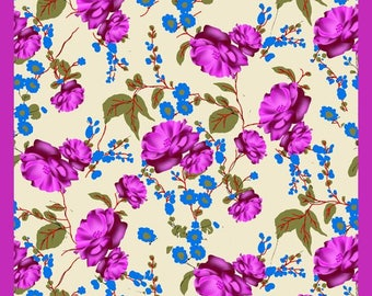 Purple and Blue floral photo print