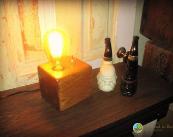 Edison Lamp Made of Solid Block of Butternut Wood