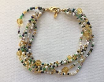Beaded Braclet/5 stringed/Mutlicolored/neutral colors