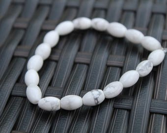 White Marbled Beaded Bracelet