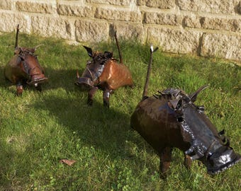 Recycled Metal Warthog Sculpture - Reclaimed Materials - African Animal