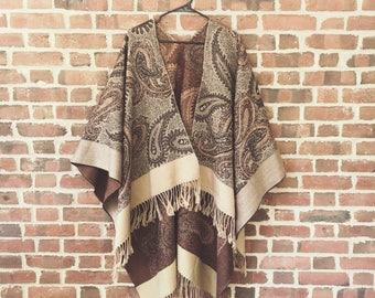 Sheila - Vintage Boho Paisley Neutral Tan Blanket Shawl