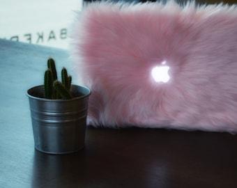 Faux Fur MacBook Case-Baby Pink