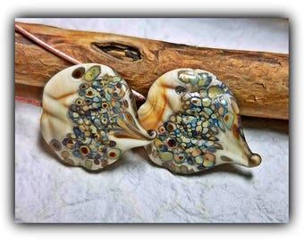 Stone Ivory Falling Leaf Headpins**Handmade Lampwork Beads**