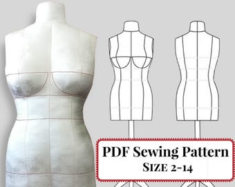 PDF Sewing Pattern - DIY Dress Form Mannequin. Plus Complete Step-by-Step Sewing Photo-Guide. Sizes 2,4,6,8,10,12,14(Bra Cups A,B,C,D,DD/E)