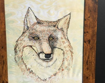 Fox hand painted, hand drawn, hand marbling