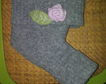 100% Wool Grey Shorties with Felted Wool Flower