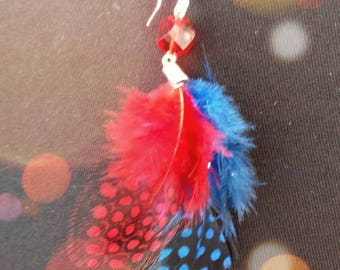 Feather and glass earrings