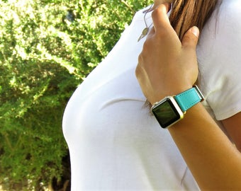 Single Tour Leather Apple Watch Band 38mm Women Apple Watch Band 42mm Apple iWatch Strap 38mm Apple Watch Strap 42mm Teal