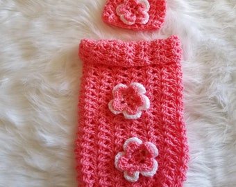 Crochet Baby Cocoon w/Matching Hat