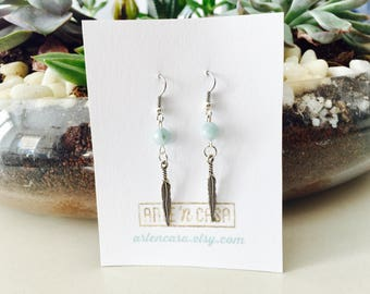 Earrings with amazonite and feathers