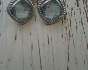 Vintage blue topaz white gold roped earrings