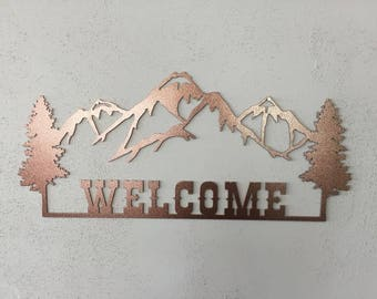 Welcome With Mountians Wall Art