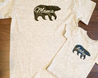 Mommy and Me Mama bear and Baby bear shirt set