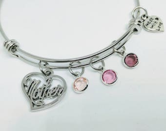 Mother bangle - mom jewelry - mother's day gift - gift for Mom, Birthstone jewelry - birthstone bracelet - mother jewelry - heart charm