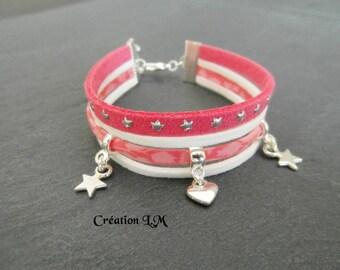 Bracelet Liberty rose corail et blanc argenté