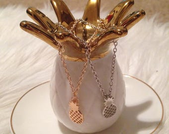 Single Pineapple necklace chain Solver Gold Color
