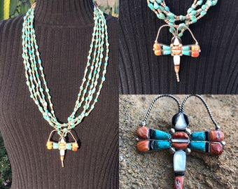 Dragonfly Necklace Pendant, Native American Jewelry, Navajo Jewelry, Santo Domingo Pueblo Necklace, Turquoise Necklace, Zuni Inlay Necklace