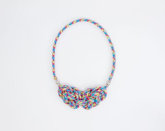 2v1 Double knot rope  necklace -bubble gum by Treda design