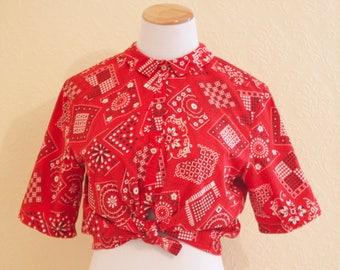1950's red bandana print blouse