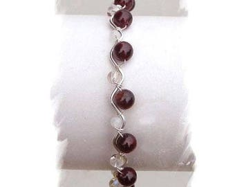 Bracelet Garnet, rock crystal and Moonstone gemstones