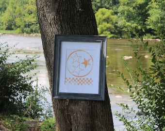Tennessee 3 stars with checkered board - Orange