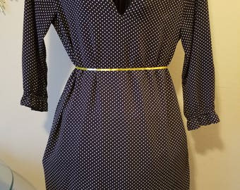 H & M Dress Blue and White Polka Dots Size 12