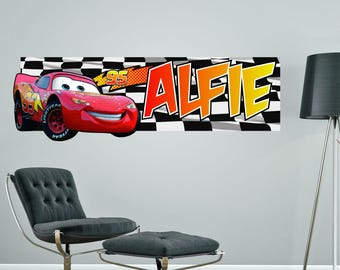 LIGHTNING MCQUEEN CARS Personalised Wall Sticker Childrenu0027s Bedroom Decal  Art Graphic Mural Customised Part 86