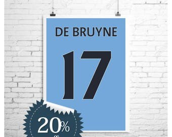 Kevin De Bruyne 17 Manchester City Shirt Print