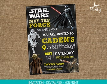 Star Wars invitation print yourself, Star Wars birthday invitation, Star Wars party invitation