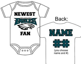 Newest Philadelphia Eagles  Fan Custom Made Personalized Football Gerber Onesie You Choose Name Number - Great New Baby Shower Gift