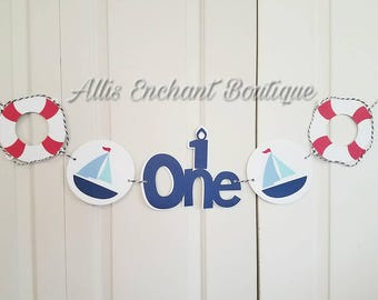 Boy One Ahoy  Banner Birthday Nautical Boy Birthday One Banner Boy Birthday Decorations