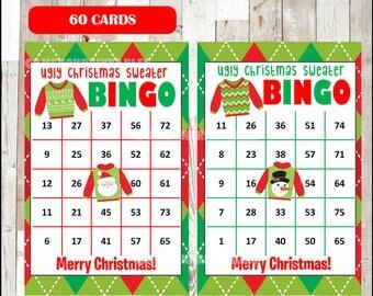 Printable 60 Christmas Bingo Cards, printable Ugly Christmas Sweater Bingo game, Christmas printable bingo cards, instant download