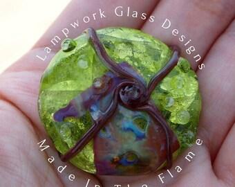 Green Glass Bead Large Focal Bead Dichroic Green
