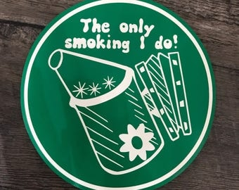 Bee keeper smoking - vinyl decal - my design and cut