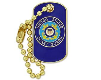 PinMart's Military U.S. Coast Guard Dog Tag Key Chain Enamel Lapel Pin