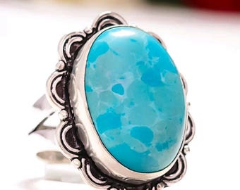 New Natural Blue Caribbean Larimar Gemstone Statement Ring Jewelry Size 7.5 7 1/2 Made of 925 Sterling Silver Metaphysical