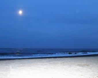 Tybee Island - Savannah Georgia- Beach - Moonlight - Instant Download