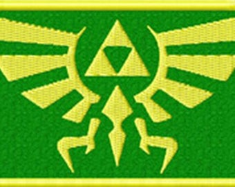 "FREE SHIPPING-Domestic-InspireMeByAudrey Legend of Zelda Hyrule's Royal Crest Gold/Green Embroidered Sew/Iron-on Patch/Applique 3.5"" X 2.25"""