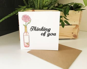 Floral Pink Thinking of You Card