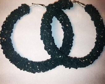 Forest green crystal hoop earrings