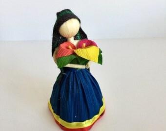Handmade corn husk doll, Mexican doll