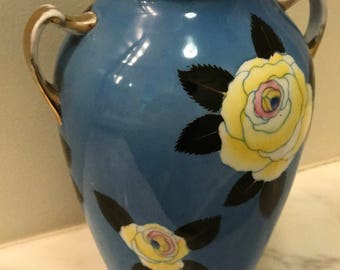 Noritake Blue Vase w/ Yellow Flowers circa 1925