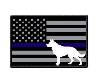 Police K-9 USA Flag with Think Blue Line and K-9 Sticker
