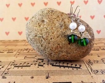 Angel earrings-green