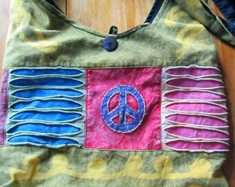 Boho chic hippie peace bag