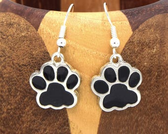 Earrings Black Silver paw clip, Tibetan silver paws